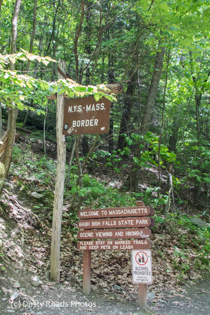 State line marker on Bash Bish Trail
