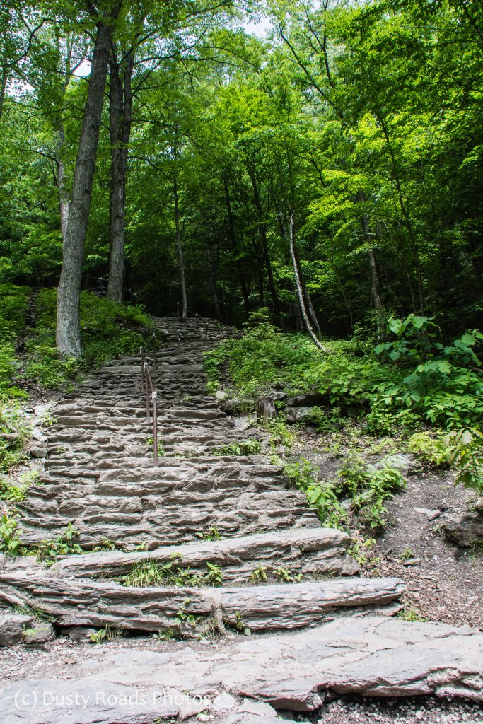 Stone stairway from base of Bash Bish Falls to the trail